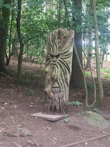 Goit Stock Falls Hike: Wood Carvings
